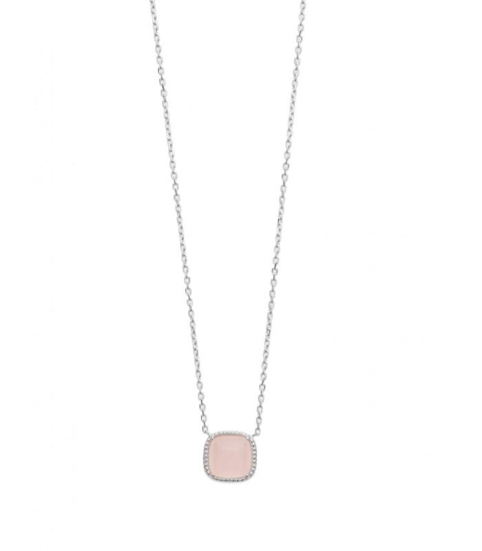 Collier en argent 925/1000 rhodié avec un carré en quartz rose, longueur 45 cm réglable à 42 et 40 cm