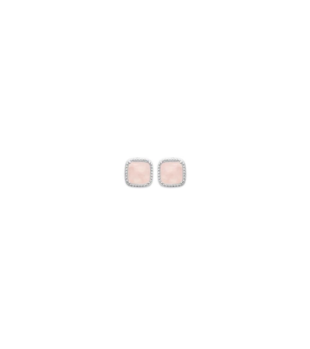 Boucles d'oreilles carrées en argent 925/1000 rhodié, avec pierre en quartz rose, fermeture poussettes