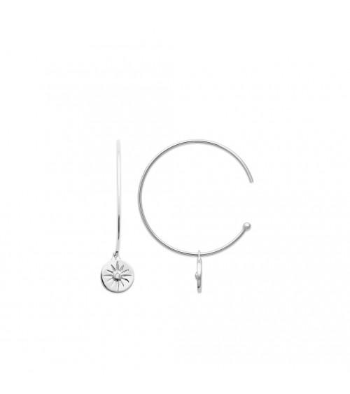 Boucles d'oreilles créoles ouvertes en argent 925/1000 rhodié avec soleil pendant orné d'un oxyde de zirconium en son centre
