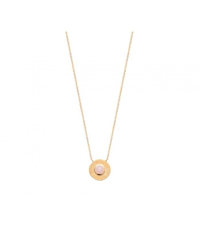 Collier en plaqué or avec un rond strié orné d'un quartz rose, longueur 45 cm réglable à 42 et 40 cm