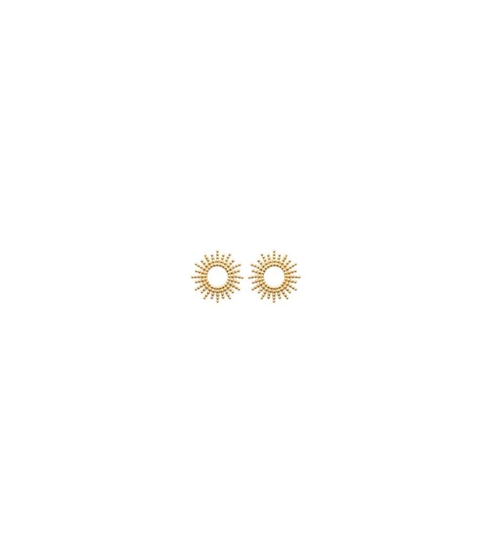"""Boucles d'oreilles """"soleil"""" en plaqué or, avec poussettes"""
