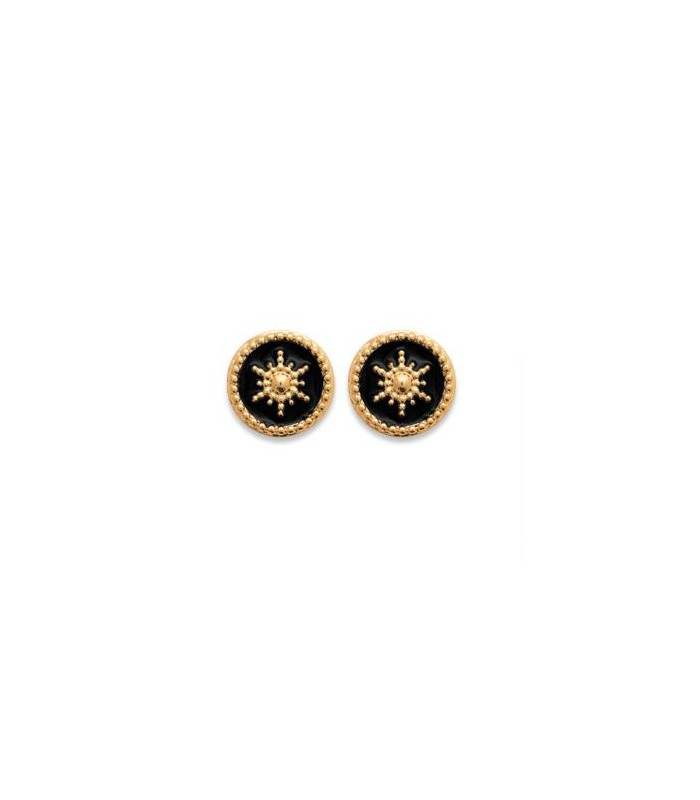 Boucles d'oreilles en plaqué or, pastille étoilée avec émail noir, avec poussettes