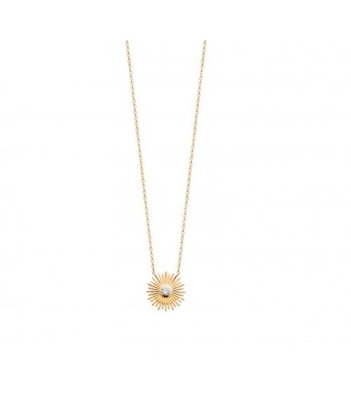 """Collier """"soleil"""" en plaqué or avec un oxyde de zirconium en son centre"""