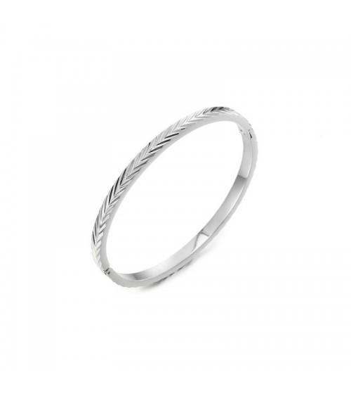 Bracelet rigide avec motif chevron, en acier