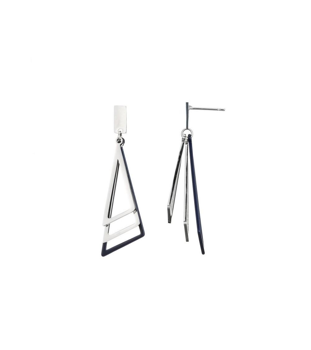 Boucles d'oreilles pendantes avec 3 triangles en acier dont 1 bleu marine