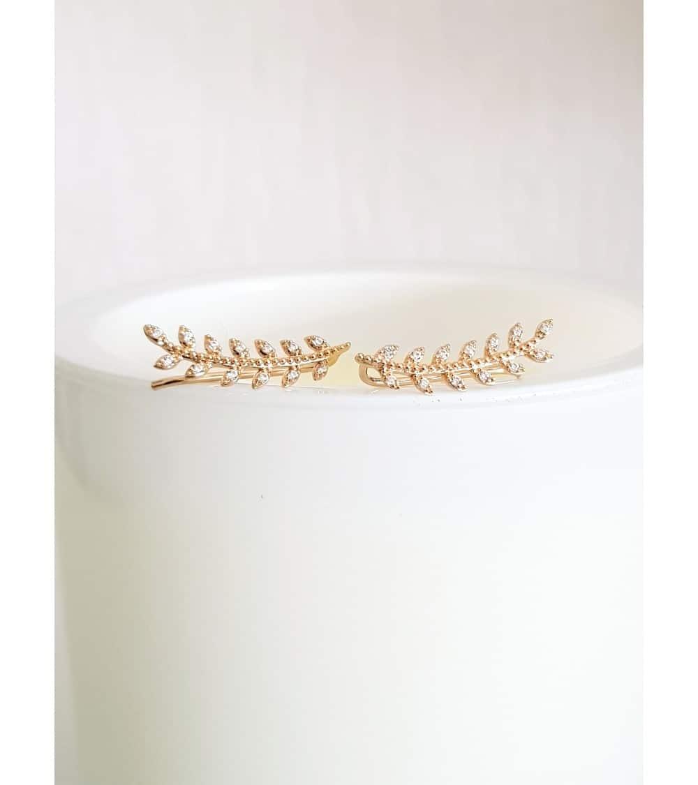 """Boucles d'oreilles """"contour d'oreilles"""" motif """"épi"""" en plaqué or, et oxydes de zirconium blancs, avec poussettes"""
