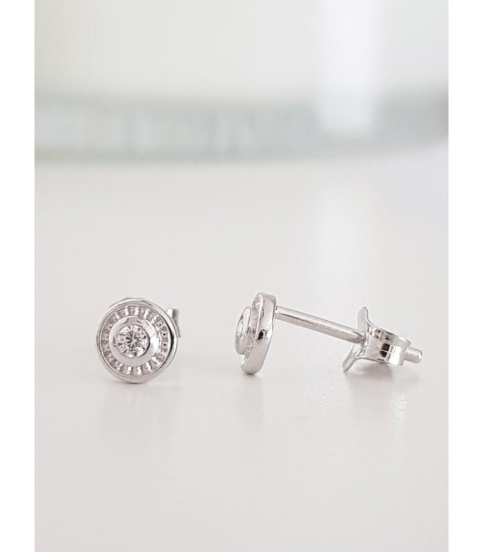 Boucles d'oreilles rondes en argent 925/000 rhodié,  avec 1 oxyde de zirconium en son centre, fermeture poussettes