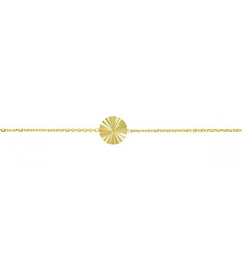 Bracelet en plaqué or avec pastille striée, en longueur 15 cm + 3 cm
