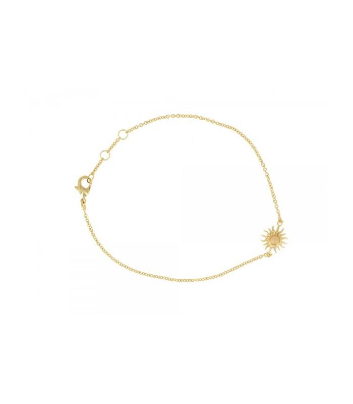 Bracelet en plaqué or, avec un motif soleil comportant une pierre de lune( longueur  17 cm réglable à 18 et 19 cm)