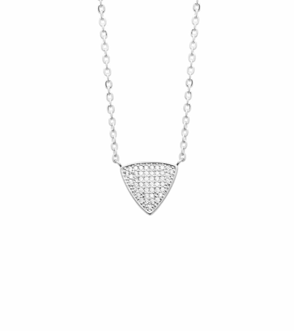 """Collier """"triangle"""" en argent 925/1000 rhodié avec oxydes de zirconium, en longueur 45 cm réglable à 42 et 40 cm"""