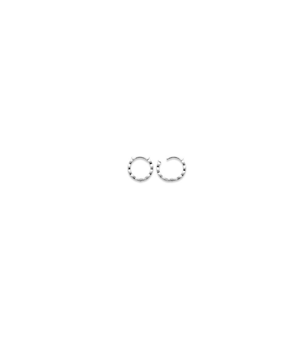 Boucles d'oreilles créoles en argent 925/1000 rhodié et émail noir
