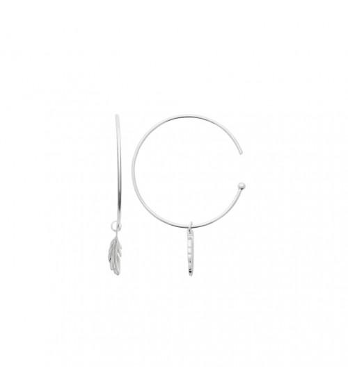 Boucles d'oreilles créoles ouvertes en argent 925/1000 rhodié et plume pendante