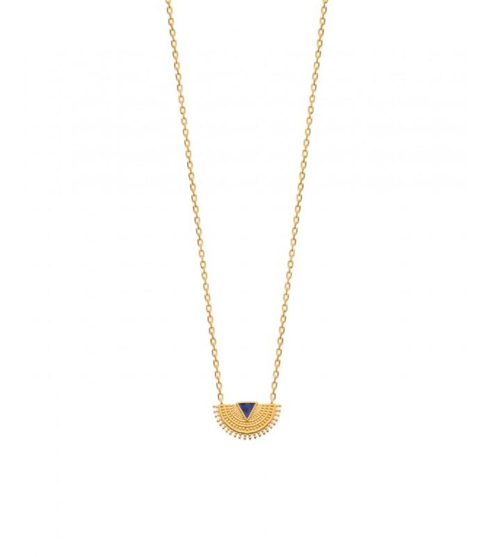 Collier demi sphère dentelée en plaqué or orné d'un triangle de couleur bleu marine longueur 45 cm réglable en 42 et 40 cm)
