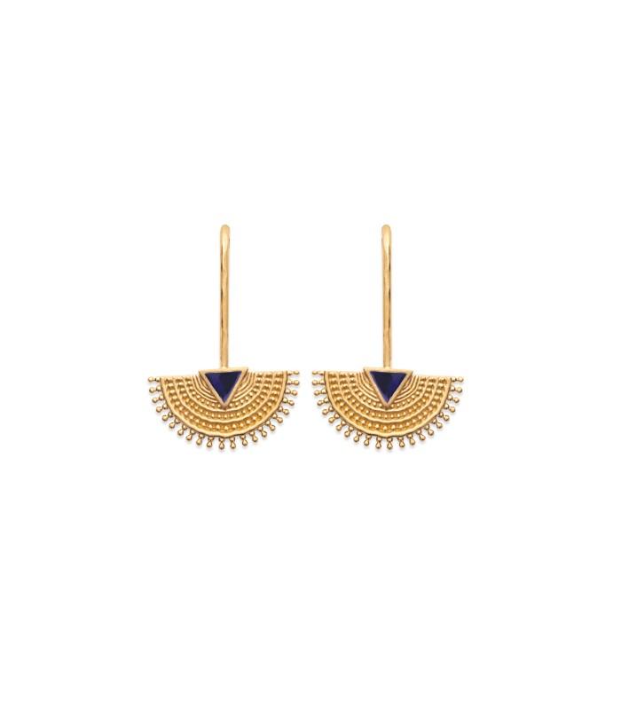 Boucles d'oreilles en plaqué or demi sphère dentelée ornée d'un triangle e émail bleu marine