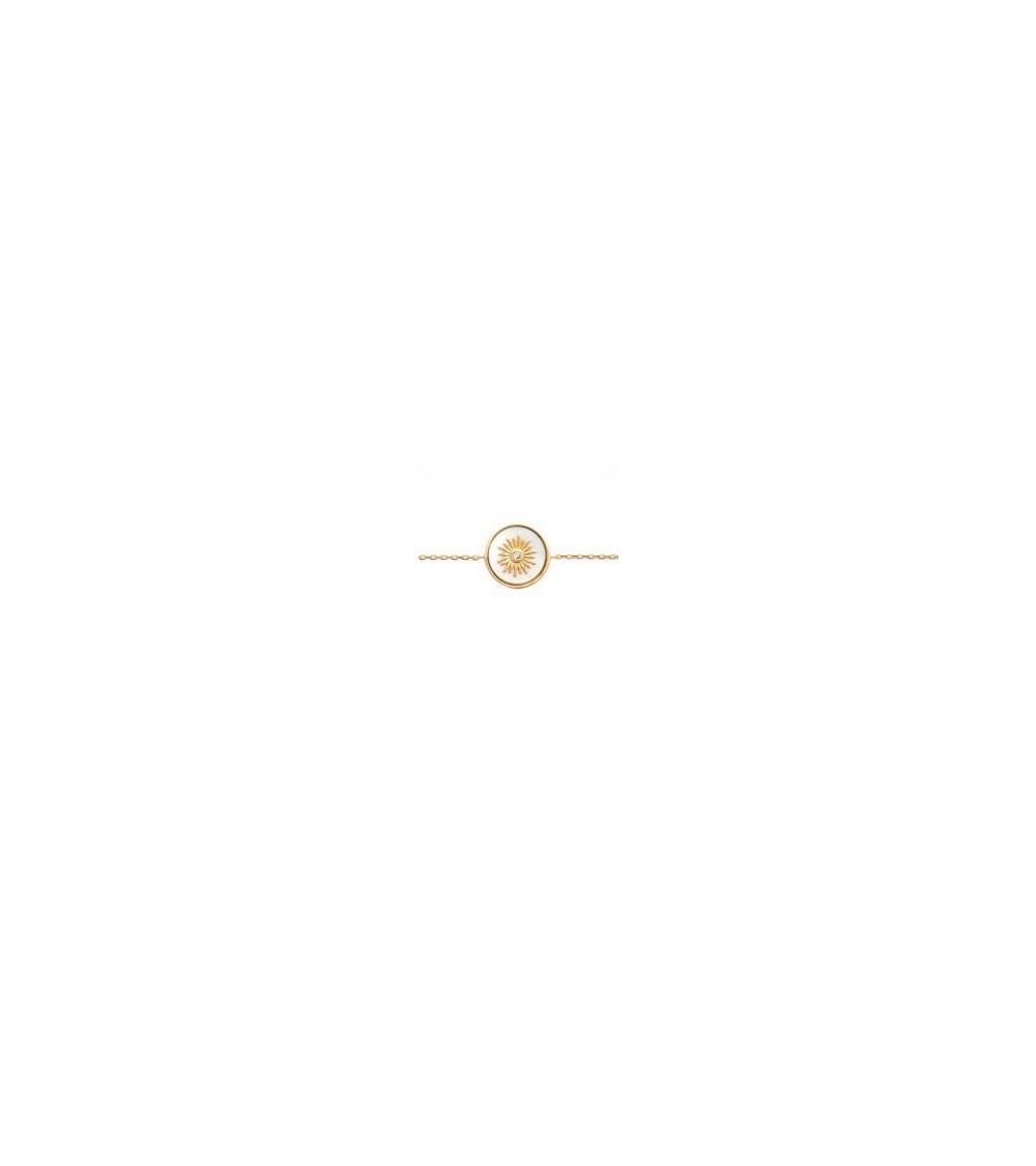 Collier en plaqué or avec pastille en nacre incrustée d'un avec un oxyde de zirconium (longueur 45 cm réglable en 42 et 40 cm)