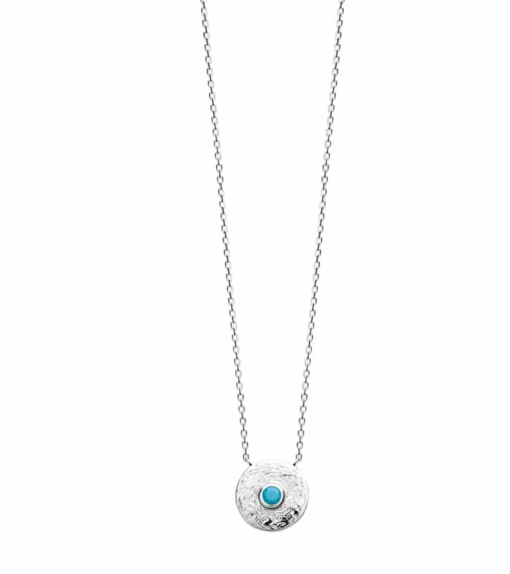Collier en argent 925/1000 rhodié avec pastille martelée incrustée d'une pierre de synthèse bleu turquoise
