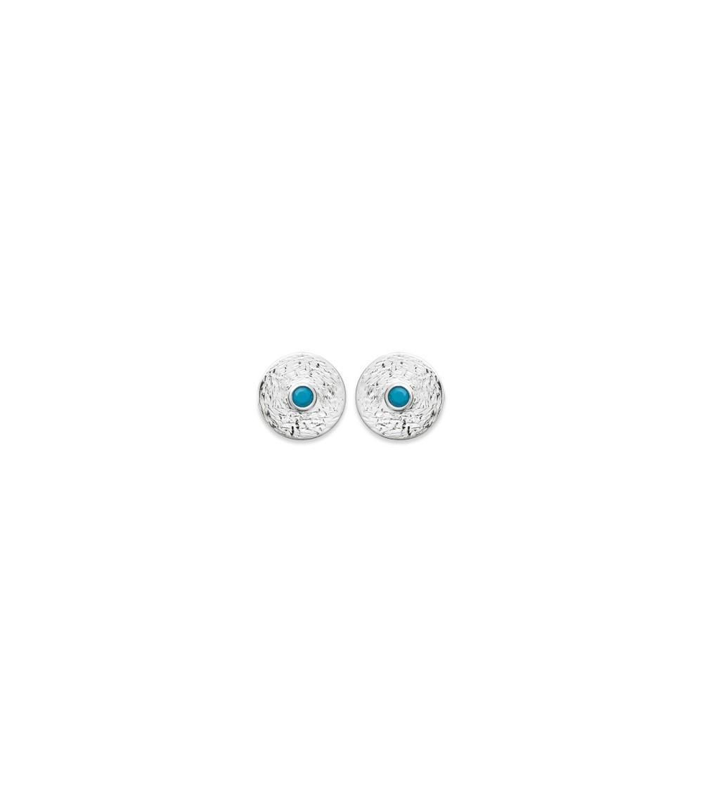 Boucles d'oreilles en argent 925/1000 rhodié, avec une pierre de synthèse bleue turquoise, avec poussettes