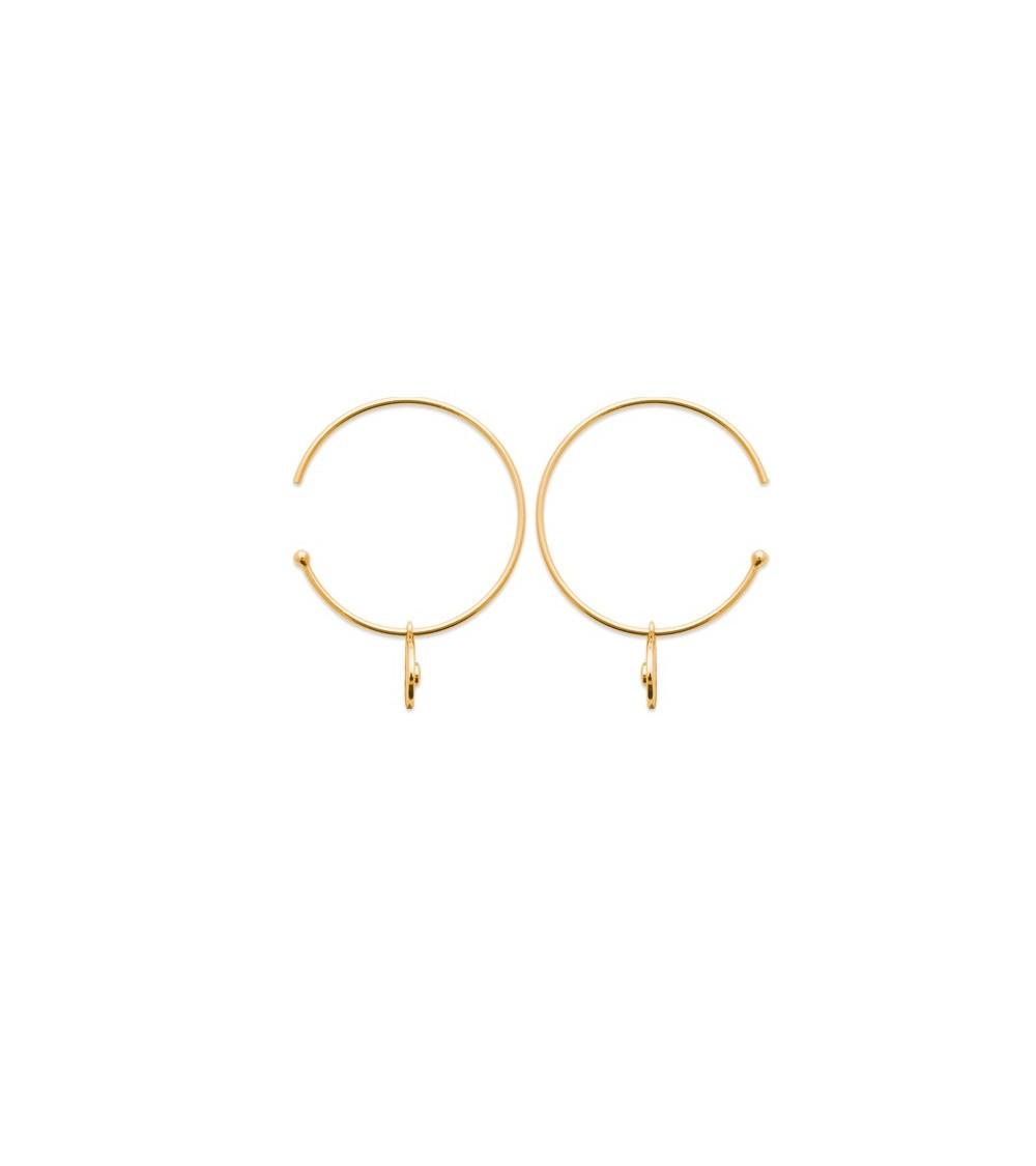 Boucles d'oreilles créoles ouvertes en plaqué or avec pastille pendante comportant un oxyde de zirconium