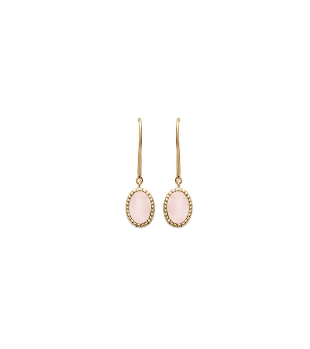 Boucles d'oreilles ovales en plaqué or et quartz rose, avec crochets
