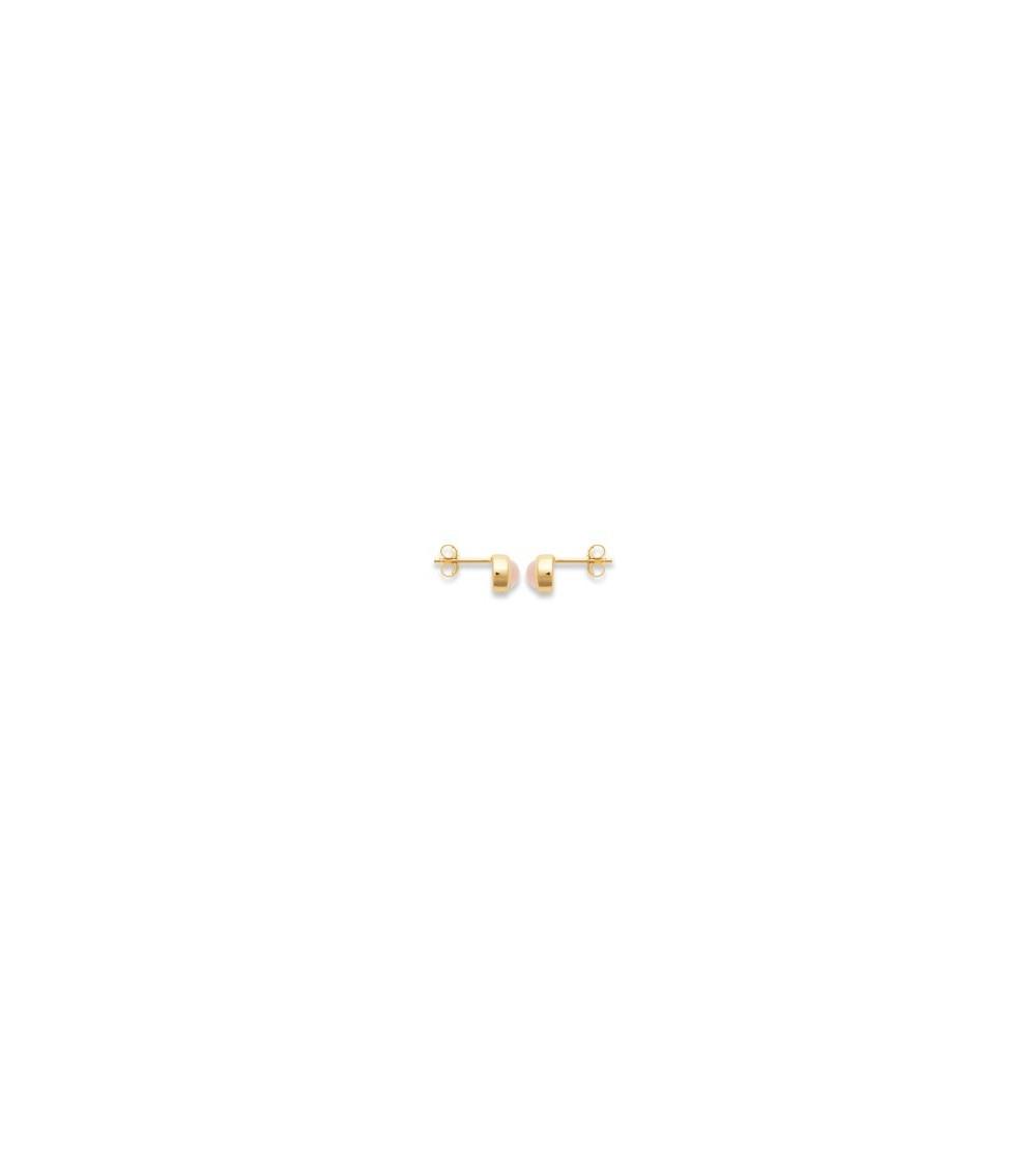 Boucles d'oreilles rondes en plaqué or et quartz rose, avec poussettes