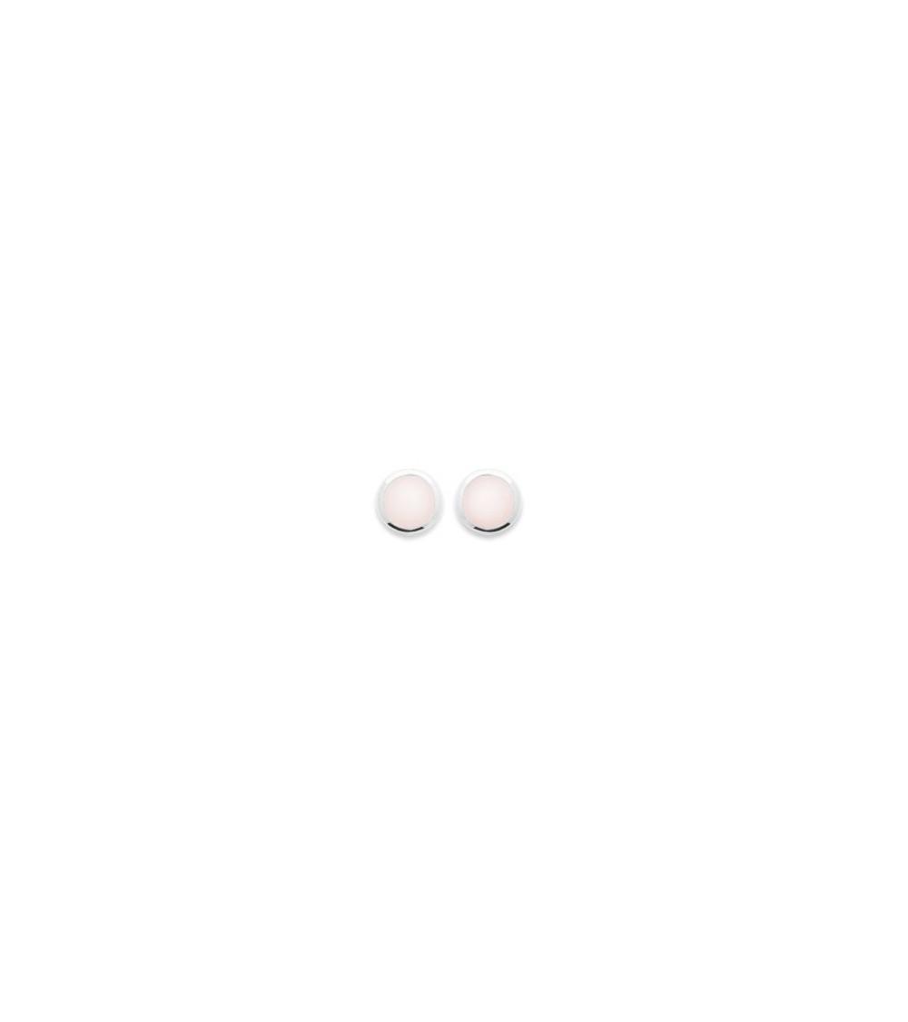 Boucles d'oreilles rondes en argent 925/1000 rhodié et quartz rose, avec poussettes