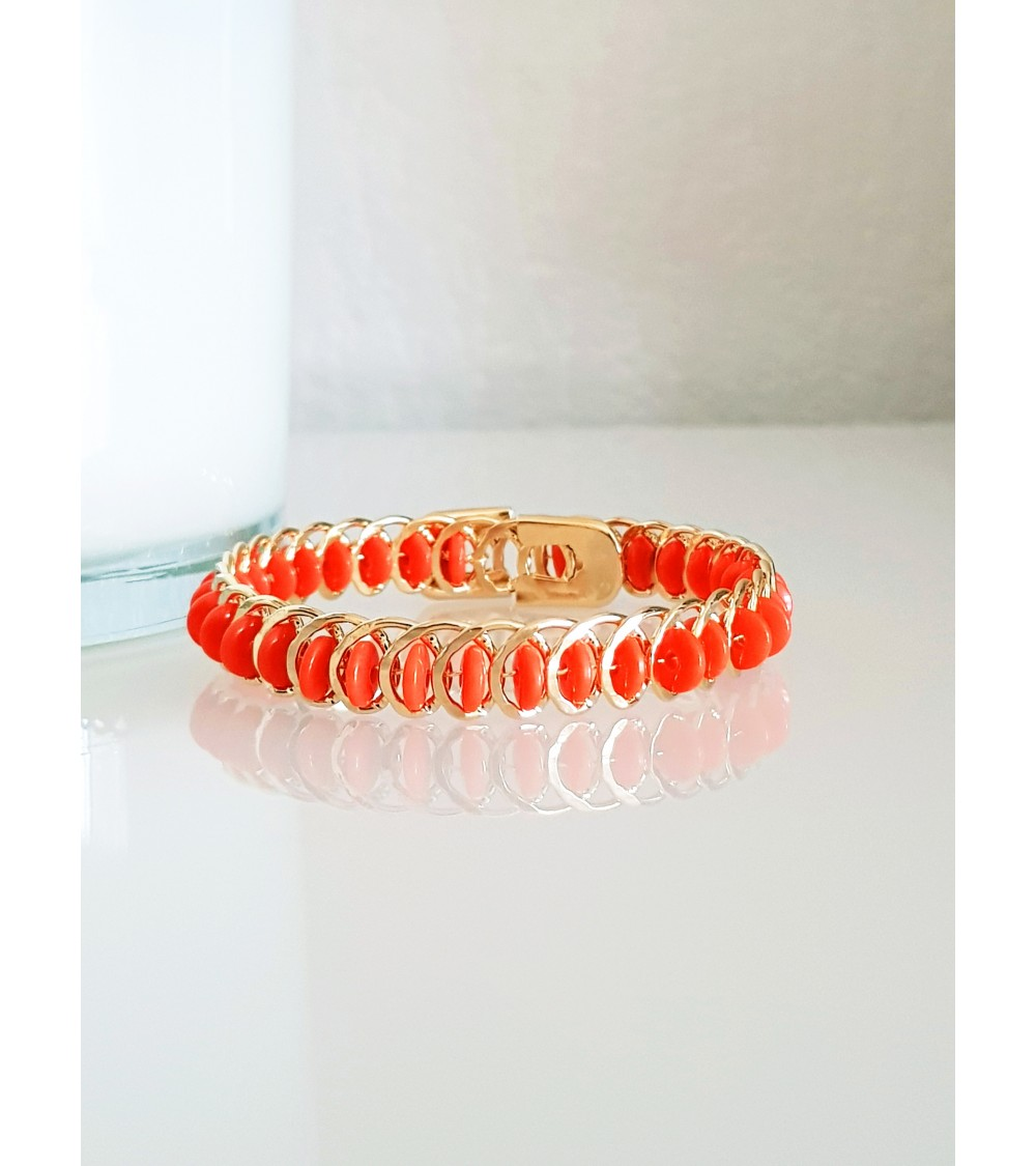Bracelet tressé en plaqué or et pierres orange