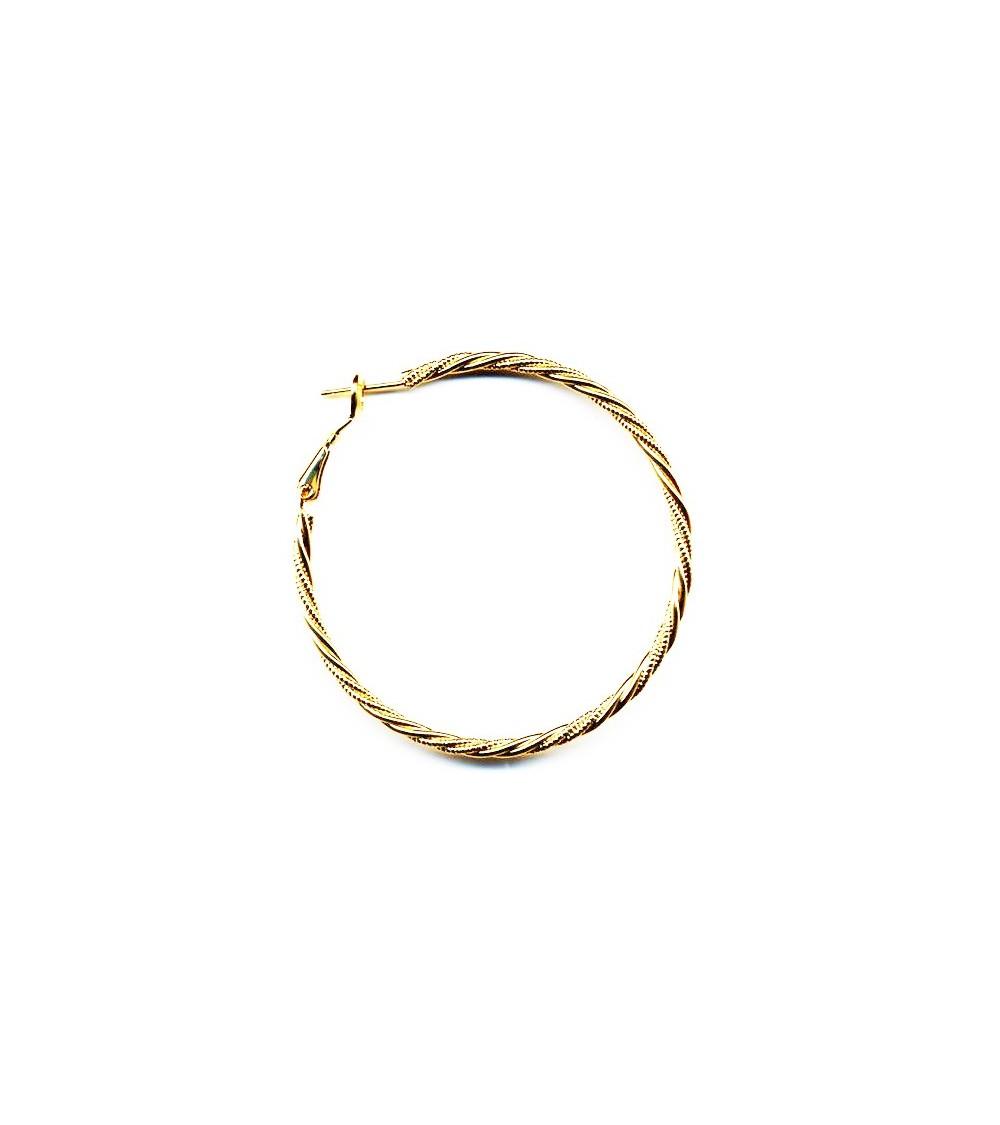 Boucles d'oreilles créoles torsadées en plaqué or (diamètre 50 mm)