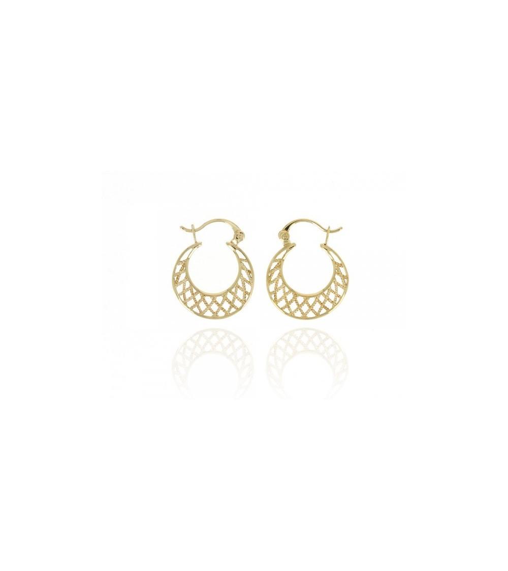Boucles d'oreilles créoles en plaqué or avec quadrillage