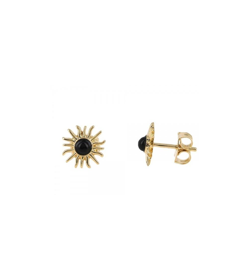 """Boucles d'oreilles """"soleil"""" en plaqué or et onyx"""