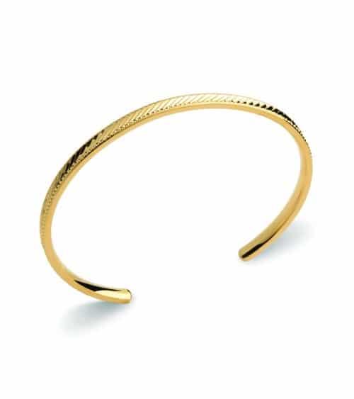 Bracelet rigide ouvert en plaqué or strié (diamètre 58 cm)