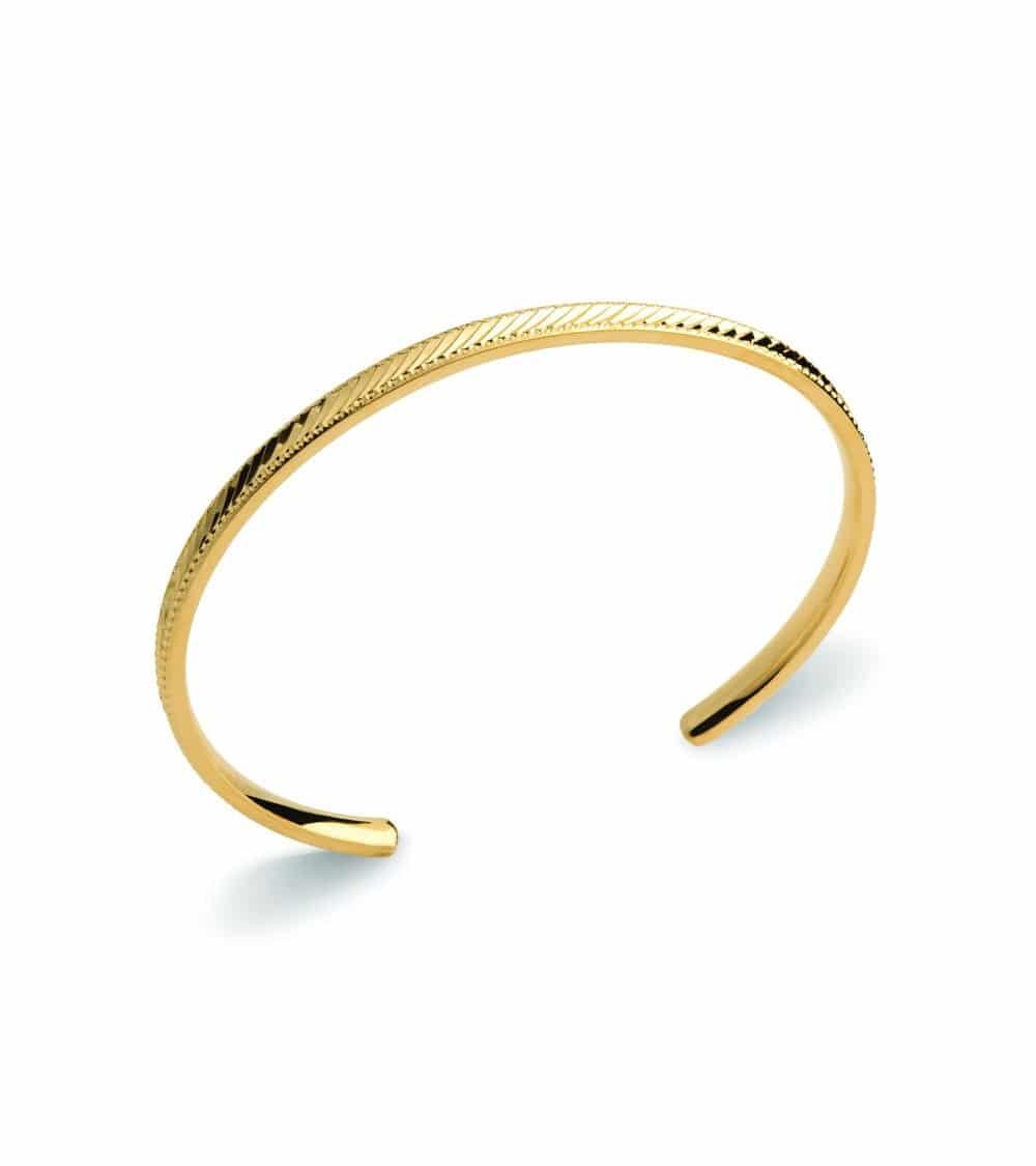 Bracelet rigide ouvert en plaqué or strié