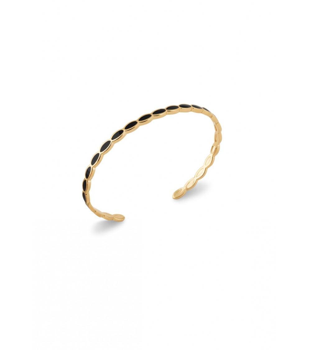 Bracelet ouvert rigide en plaqué or et émail noir, diamètre 58 cm