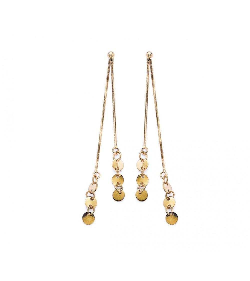 Boucles d'oreilles pendantes en plaqué or, maille serpent et pastilles, avec poussettes
