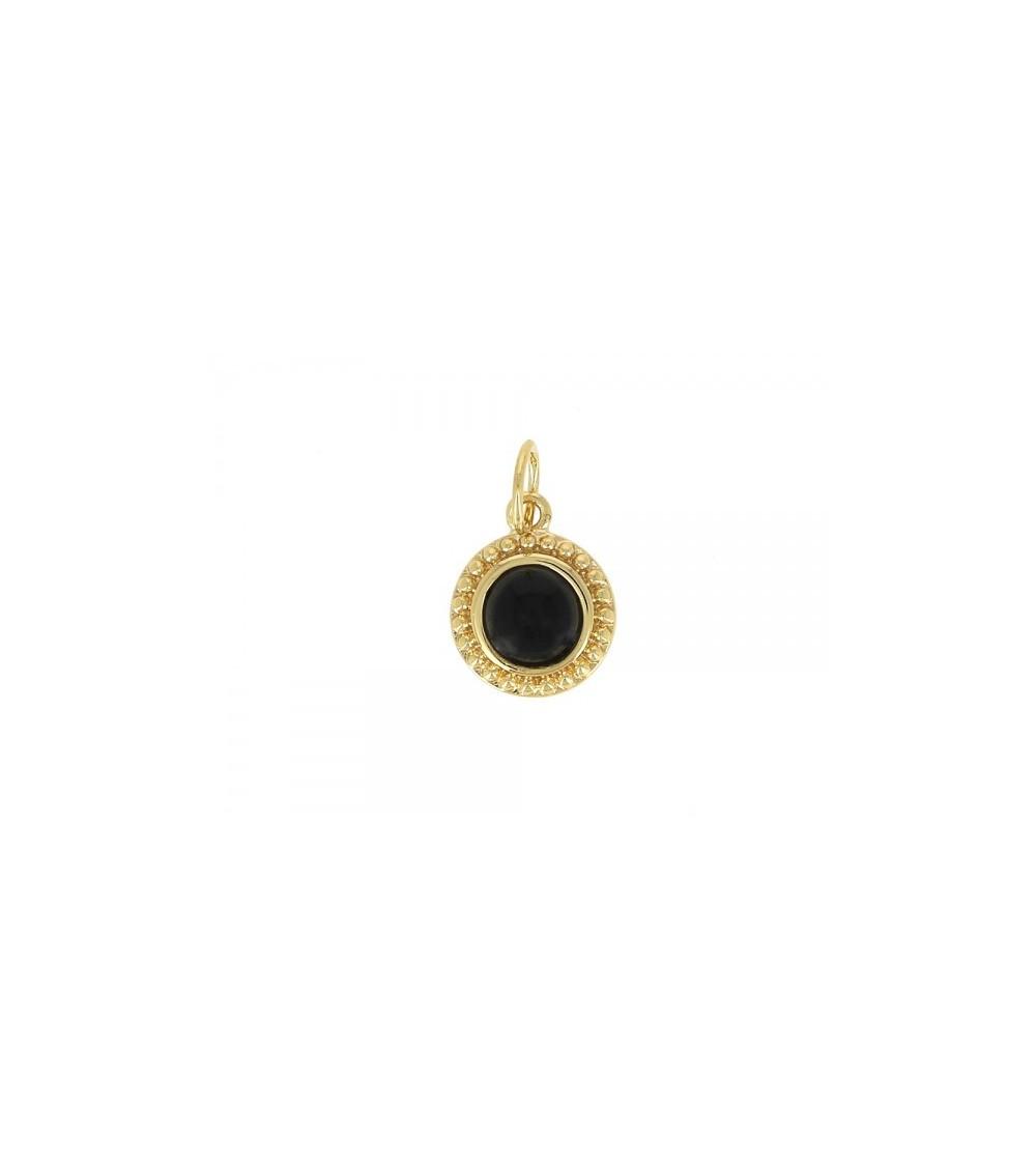 Pendentif seul en plaqué or et onyx (voir chaîne vendue séparément)