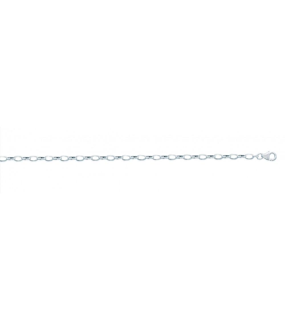 Bracelet en argent 925/1000 à maillons ovales, en longueur 18 cm