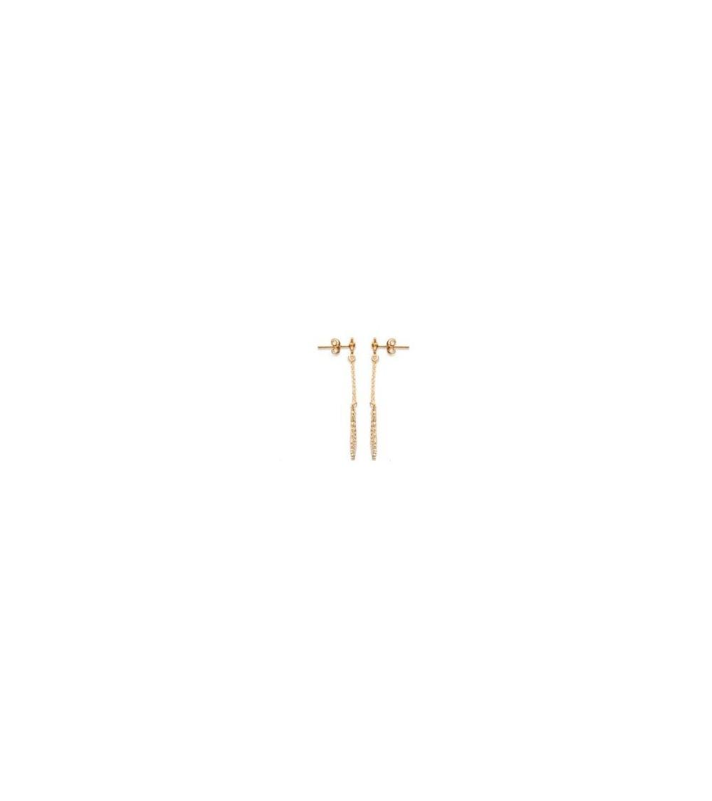 Boucles d'oreilles demi soleil en plaqué or, avec poussettes