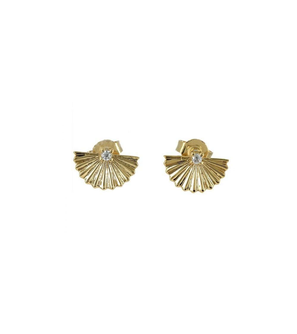 Boucles d'oreilles en forme de petit éventail, en plaqué or avec un oxyde de zirconium
