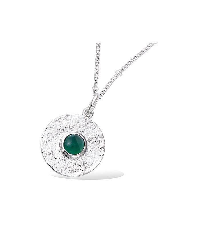 Pendentif seul rond en argent 925/1000 rhodié comportant une pierre de synthèse verte foncée (voir chaîne vendue séparément)