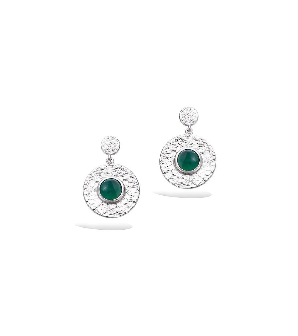 Boucles d'oreilles pendantes en argent 925/1000 rhodié avec un rond comportant une pierre de synthèse verte foncée