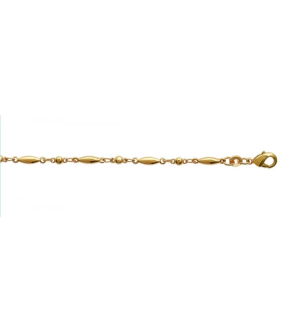 Bracelet en plaqué or à maillons ovales et boules intercalées (longueur 18 cm)