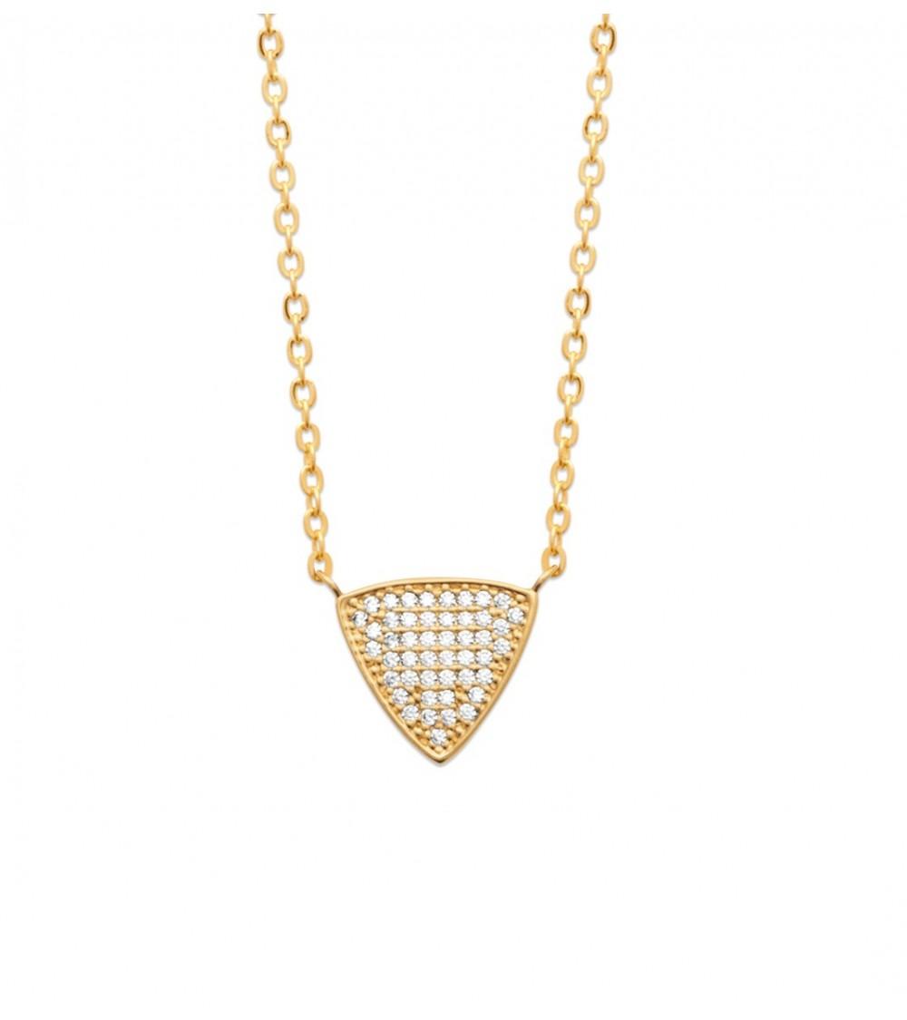 Collier en plaqué or motif triangle serti d'oxydes de zirconium (longueur 45 cm réglable en 42 cm)