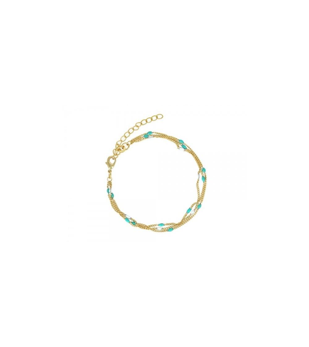 Bracelet en plaqué or 3 rangs de chaines agrémentées de perles blanches et turquoises (longueur 19 cm réglable à 15 cm)