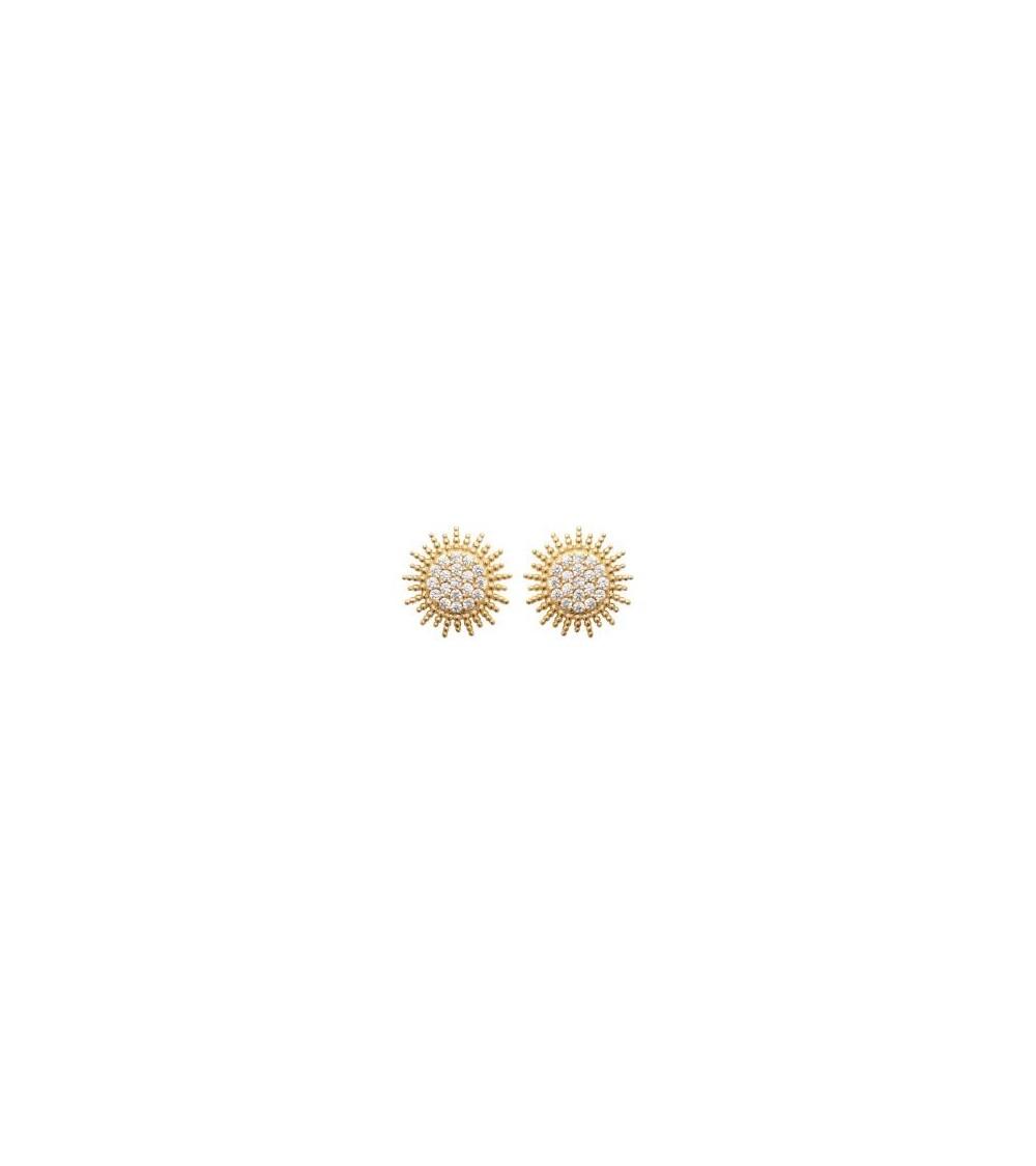 """Boucles d'oreilles """"soleil"""" en plaqué or et oxydes de zirconium, avec poussettes"""