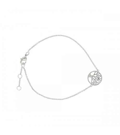Bracelet arbre de vie en argent 925/1000 rhodié, en longueur 19 cm réglable à 18 et 17 cm