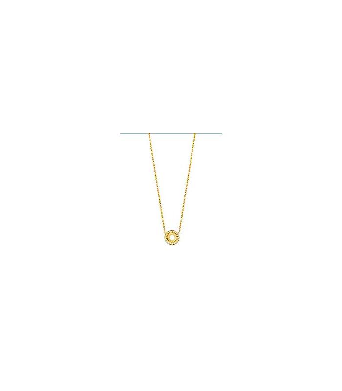"""Collier """"rosace"""" en plaqué or, en longueur 45 cm réglable à 42 et 40 cm"""