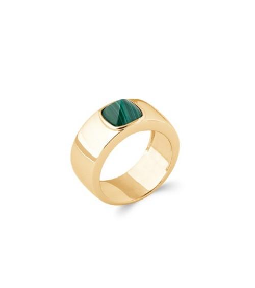 Bague anneau large en plaqué or surmonté d'une pierre malachite