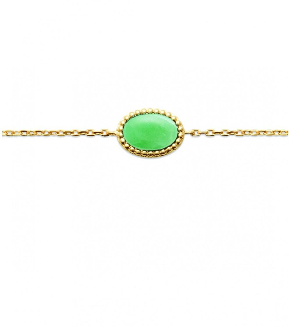 Bracelet en plaqué or avec une pierre aventurine ovale (longueur 18 cm réglable à 16 cm)
