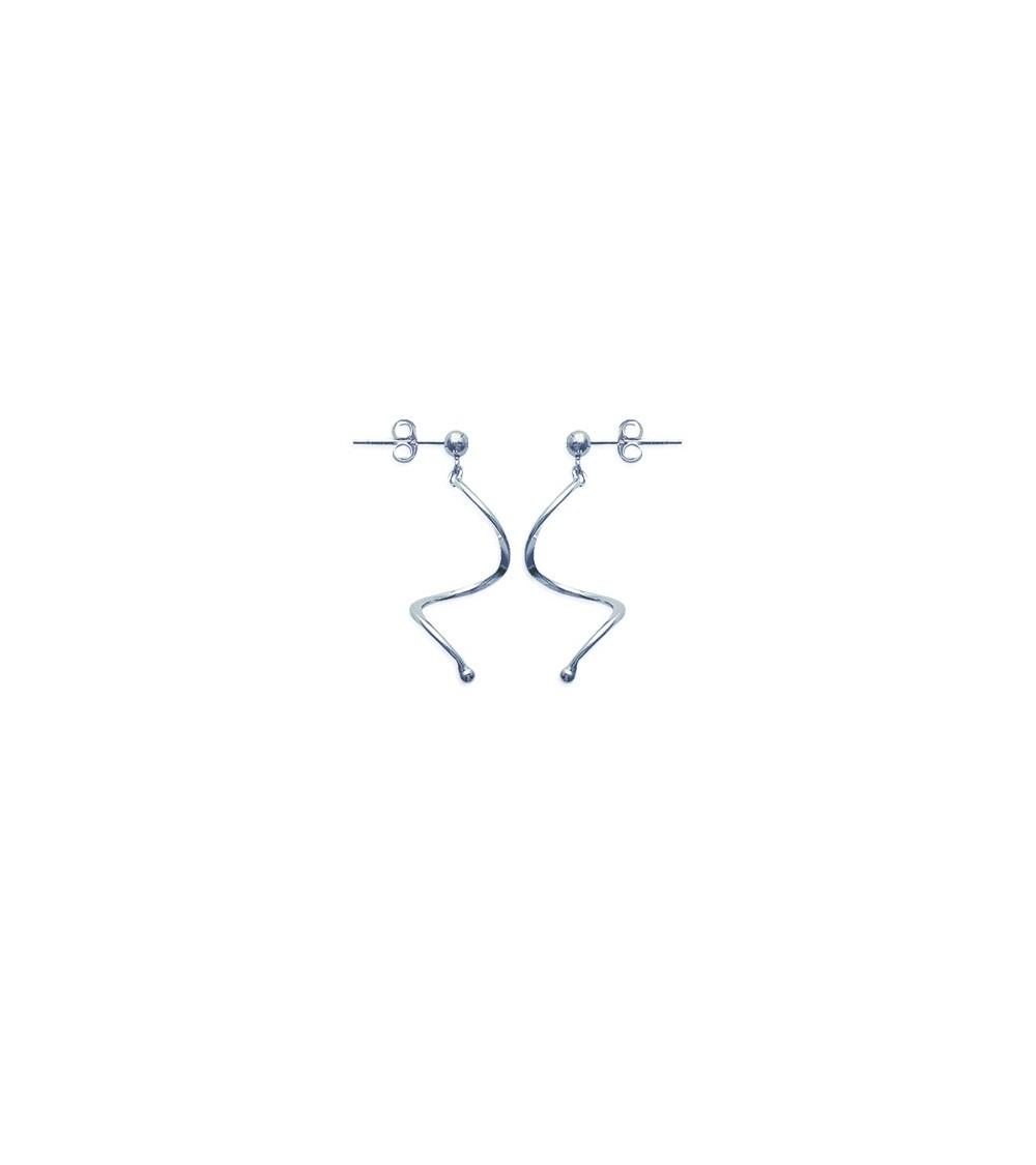 Boucles d'oreilles pendantes en argent 925/1000 rhodié,avec poussettes