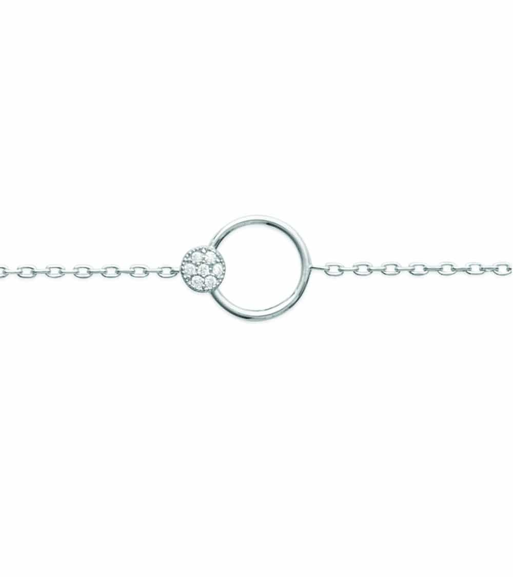 Bracelet en argent 925/1000 rhodié avec un anneau coulissant sur une pastille sertie d'oxydes de zirconium