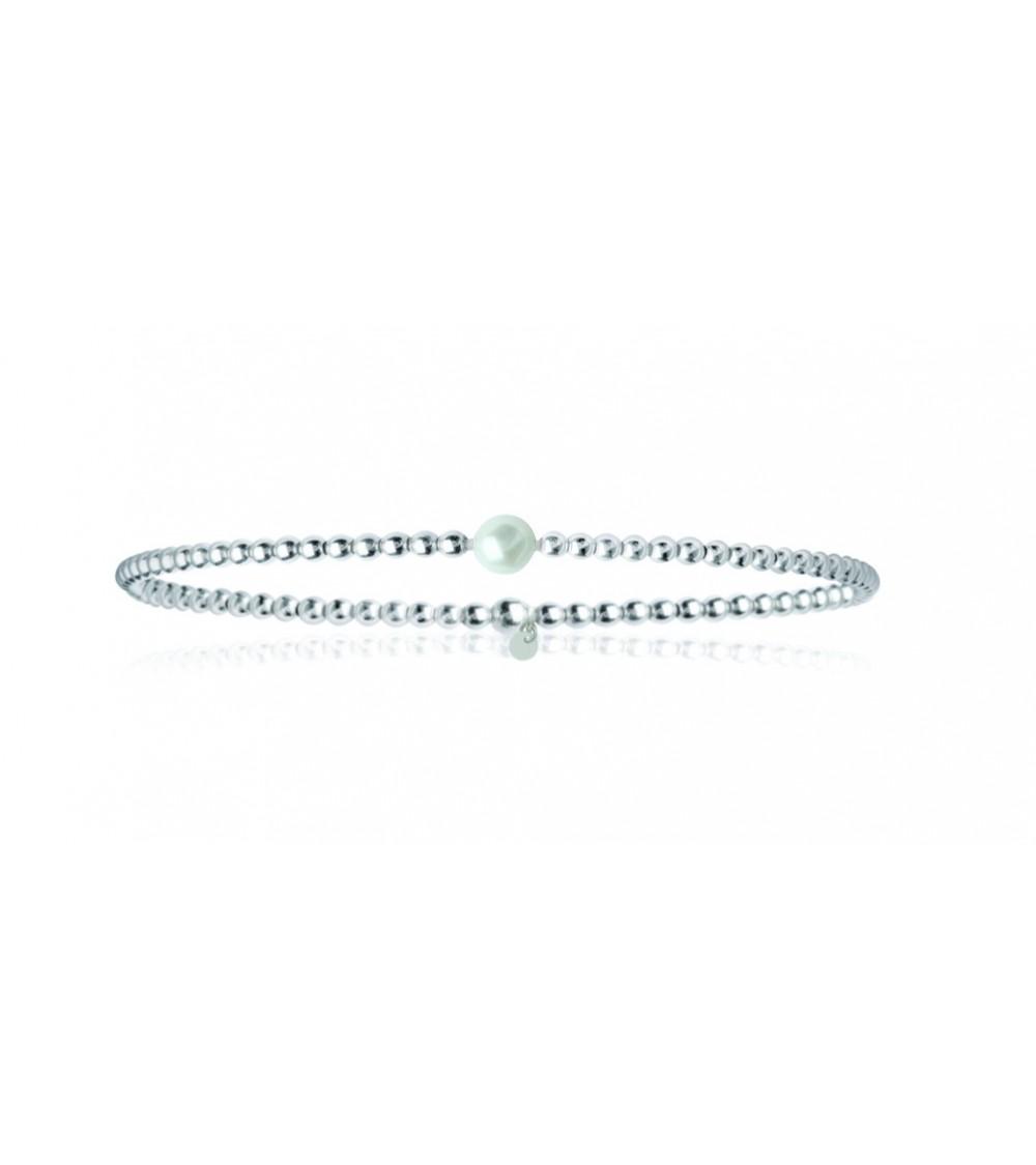"""Bracelet """"boules"""" élastique en argent 925/1000 agrémenté d'une perle Biwa (18 cm)"""